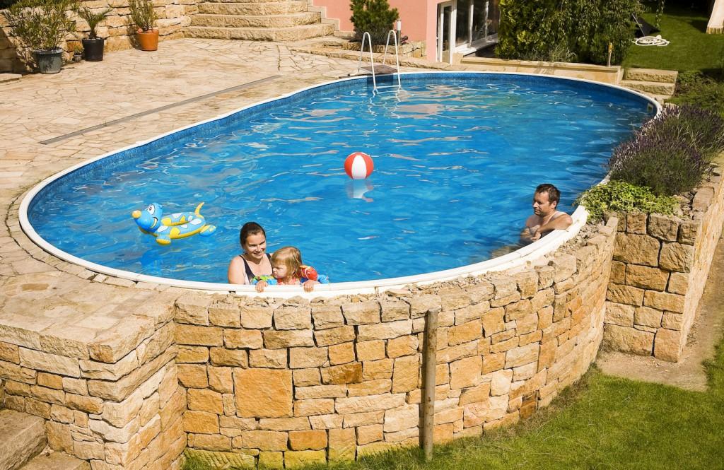 Vendita piscine interrate piscine in lamiera d 39 acciaio azuro for Piscina seminterrata